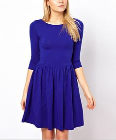 Take a look at this Blue Fit & Flare Dress - Women on zulily today!