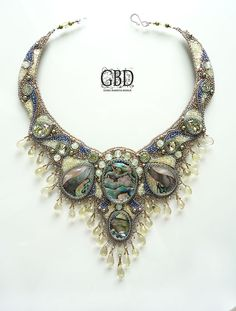 Primavera necklace by Guzel Bakeeva (GBD). Bead embroidery. Seed beads, stone cabochons, other beads. .