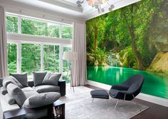 $190  Forest Lake - Wall Mural - Repositionable Adhesive Fabric - Self-Adhesive Wall Covering - Peel And Stick Wall Skins