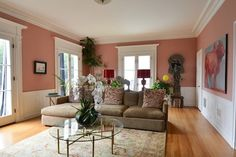 pink walls with wainscoting for DR?  from Living With Kids: Laura Tremaine