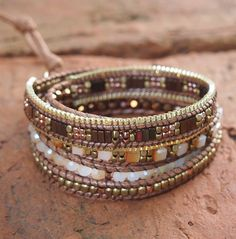 5 times Wrap Bracelet Brown Crystal beaded mix Boho by G2Fdesign