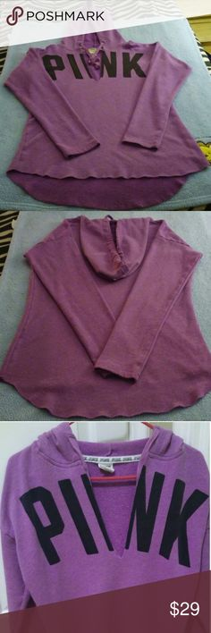 VS Pink V Neck Hi Low Hoodie Sz L Purple VS Pink Hi Low V Neck Hoodie.  Lightweight and so comfy. Pink written in Black across the top of front. Very pretty Purple color. Color best captured in Pic 1 and 2. Great Condition. Only lightly worn a few times.  Got as a gift and it is way to big on me.  Just taking up space in my closet.  Hate to see it go though. PINK Victoria's Secret Tops Sweatshirts & Hoodies