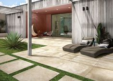 Transform your boring backyard into something beautiful and vacation worthy. Outdoor Tiles, Outdoor Decor, Concrete Slab, Backyard, Patio, Style Tile, Travertine, Something Beautiful, Tile Design