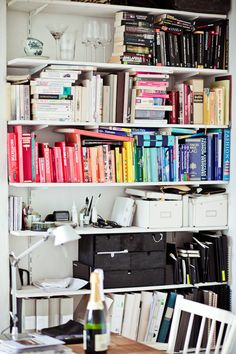 Color Coded Bookshelf Organization Styling Bookshelves Office Workspace Prenzlauer Berg