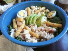 GIANT COBB SALAD - (Lettuce, white meat chicken, baby corn, egg, avocado, crumbled bleu cheese. Served with Mediterranean dressing) - Rutabegorz - Fullerton, CA