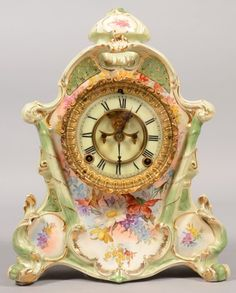 Ansonia Decorative China Cased Clock. Spring driven wit
