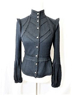 NWOT McGlinn Knightsbrdge Sz 36 Black 100% Wool Edwardian Style Detailed Blazer  #McGlinn #EdwardianStyle #Any