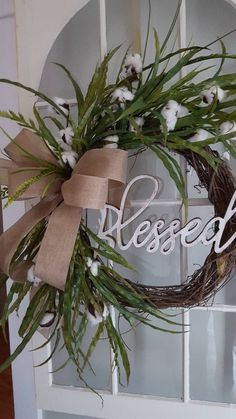 Lush and full Farmhouse wreath perfect for your farmhouse decor, this farmhouse wreath is full of natural looking greenery , cotton stems, and a welcome yall , welcome premade wood sign or Blessed letters. Easter Wreaths, Christmas Wreaths, Christmas Decorations, Country Wreaths, Outdoor Wreaths, Cotton Wreath, Greenery Wreath, Welcome Wreath, Diy Wreath