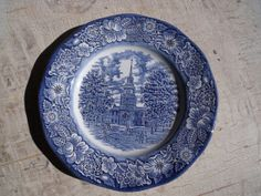 Vintage LIBERTY BLUE Dinner Plate Featuring by WisdomLane on Etsy, $15.00