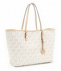Michael Kors Outlet Jet Set Travel Logo Travel Tote, Vanilla wholesale Michael Kors Outlet Jet Set Travel Logo Travel Tote, Vanilla - $38.00