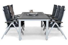Kjøp Spisegruppe Puerto 10 personer m 6 Posisjonsstoler hos Chilli. Hos oss får du høy kvalitet til en god pris. Leveres direkte til døren - Velkommen!