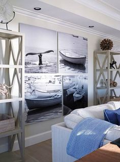 House Tour:Cape Cod – Design Chic Black-and-white photos can make the right statement in any home. These, in a home in Cape Cod, help infuse the coastal theme beautifully. Coastal Bedrooms, Coastal Living Rooms, Coastal Cottage, Living Room Interior, Living Room Decor, Coastal Style, Modern Coastal, Coastal Curtains, Coastal Decor