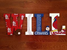 Hand-painted wood letters by Sweet Dreams.  Super cute for St. Louis Cardinals baseball fan!