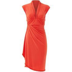 Rental Z Spoke Zac Posen Here Comes the Sun Dress ($45) ❤ liked on Polyvore featuring dresses, orange, red dress, orange sundress, red jersey, red orange dress and red sun dress