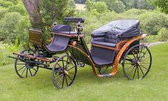 """The Victoria carriages is custom made to fit customer needs and built to suit large ponies to draft size horses. It carries 2 to 3 passengers in the rear facing forward and has a small """"jump seat"""" facing backwards, suitable for children. The box seat is suitable for 1 or 2 people next to the driver.  The carriage pictured is now in service with the Historic Savannah Carriage Tours in Savannah, GA. Historic Savannah, Horse Drawn, Savannah Chat, Baby Strollers, Pony, Horses, Coaches, Children, Gothic"""