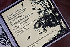 (I would) Take out the birds and add oversized flowers, make the tree a redwood, and change the font.  Enchanted Forest wedding
