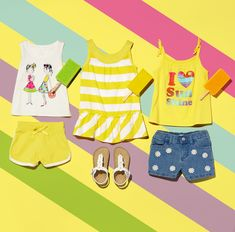 Toddler girls' fashion | Kids' clothes | Summer style | Tank top | Dress | Denim shorts | Sandals | Active shorts | Active top | The Children's Place
