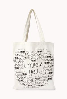Crazy Cats Meow Tote | FOREVER21 #ValentinesDay tote bag for the cat lover #F21Crush #Meow