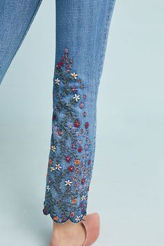 Shop the Driftwood Candace Mid-Rise Embroidered Ankle Jeans and more Anthropologie Embroidery On Clothes, Embroidered Clothes, Diy Embroidery, Flower Embroidered Jeans, Floral Fashion, Diy Fashion, Ideias Fashion, Lolita Fashion, Fashion Fashion