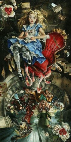 These Disney Paintings Are Incredibly Vivid and Just A Little Bit Creepy These Disney Paintings Are Incredibly Vivid and Just A Little Bit Creepy Disney s Alice in Wonderland reinterpreted by the artist Heather Theurer Visit her website heathertheurer Art Disney, Disney Kunst, Alice Disney, Fantasy Kunst, Fantasy Art, Chesire Cat, Disney Paintings, Oil Paintings, Creepy Paintings