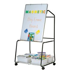 With a magnetic dry erase board, 4 storage tubs, book ledge, shelf and chart hooks, this teaching easel has everything you need to present engaging lessons without distractions.#VE550