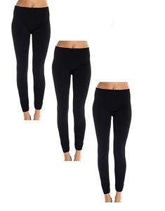 7bedc032a3e20 American Casual Women's 3 Pack Seamless Fleece Lined Leggings,Small /  Medium,Black 3