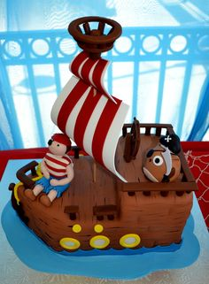 What a fun cake from a Pirate Birthday Party!  See more party ideas at CatchMyParty.com!
