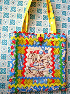 Sweet Vintage Bunny Patchwork Embroidery Purse
