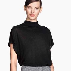 Black Short Sleeve Sweater Used a couple of times.    NOTICE 💜 Prices are negociable but please be considerate due to PoshMark fees are 20% 💜 OFFER button is always the best 💜 BUNDLES receive great discounts  💜 Same day SHIPPING 💜 No trades, No holds, No paypal H&M Tops
