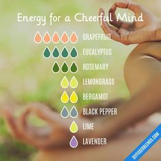 Energy for a Cheerful Mind Essential Oils Diffuser Blend ••• Buy dōTERRA essential oils online at www.mydoterra.com/suzysholar, or contact me suzy.sholar@gmail.com for more info. #aromatherapyrecipes