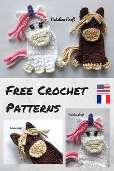 Free Crochet Pattern: Appliques – Horse and Unicorn / Patron gratuit: Appliques – Cheval et Licorne
