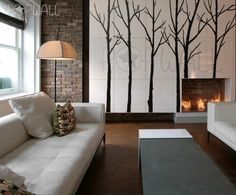 Tree wall decal stickers winter tree set of 6 trees with 10 free flying birds. Fully customized winter trees, these trees can easily be re-arranged to suit your wall space, the branches can be apply separately to create different composition.