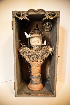 An Only Child -2012 mixed media assemblage by Dianne Hoffman