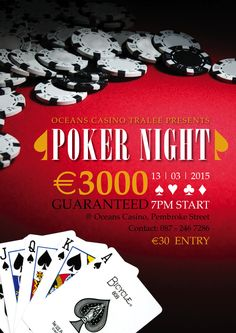 A poster design done up for Ocean's Casino in Tralee who were hosting a Poker Night