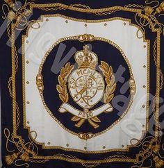 Vintage 80s Polo Ralph Lauren Silk Scarf Flag Laurel Wreath Crown Lion Crest 90s