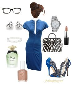 """""""Keys to work"""" by bambibrneyes ❤ liked on Polyvore featuring Claude Montana, Oscar de la Renta, Burberry, Cartier, Georgini, Michele, Dolce&Gabbana, Ray-Ban, Essie and MAC Cosmetics"""