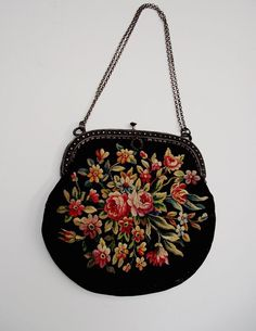 Flowered Antique Handbag with chain 1900 by Chandeluse on Etsy