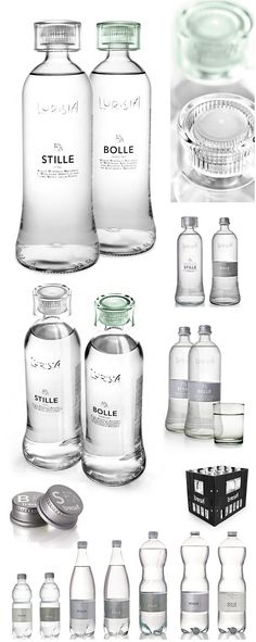 Lurisia (Still and Sparkling) Glass and PET Water Bottles.