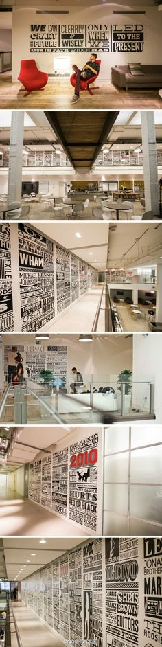 sony office music timeline walls
