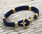 Nautical sailor's anchor bracelet - New Haven in navy blue