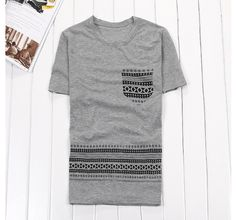 Casual Style Men s Faux Pocket Printed Short Sleeve T-Shirt (WHITE,L) China Wholesale - Sammydress.com