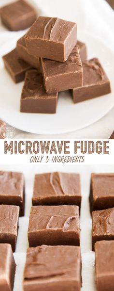 Microwave Fudge is the perfect homemade candy for beginners and experts alike, with only 3 ingredients, no thermometer, you get an easy and delicious rich chocolate fudge! easy 3 ingredients easy for a crowd easy healthy easy party easy quick easy simple Microwave Chocolate Fudge, Microwave Peanut Butter Fudge, Easy Microwave Fudge, No Bake Fudge, Chocolate Peanut Butter Fudge, Chocolate Recipes, Easy Fudge, Homemade Fudge Easy, Chocolate Fudge Slice