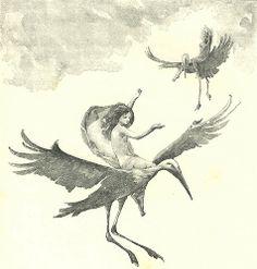 John Reinhard Weguelin (British, 1849-1927). The Storks. 1893. From the story (?The Little Mermaid) by Hans Christian Andersen.