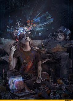 CYBER suicide by KonstantinBratishko on DeviantArt Ville Cyberpunk, Arte Cyberpunk, Arte Sci Fi, Sci Fi Art, Steampunk, Cyberpunk Character, Ex Machina, Sci Fi Characters, Shadowrun