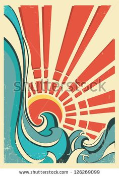 sea waves.Vintage illustration of nature poster with yellow sun on old paper by Tancha, via ShutterStock