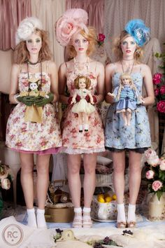 """"""" The Doll Tea Party II """" l Photographer: Robert Coppa, 2011 Fashion Art, Editorial Fashion, Human Doll, Broken Doll, Living Dolls, Doll Face, Cute Pictures, Studios, Pin Up"""