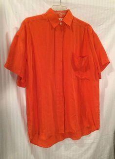 Womens Blouse Orange Short sleeve Button up Size M by MODA Intl 100% Silk #ModaInternational #Blouse
