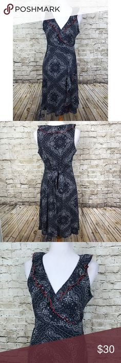 """Tommy Hilfiger Medium Dress White Blue Paisley Tommy Hilfiger Size Medium Dress Red White Blue Paisley Floral Ruffle Cotton  38"""" shoulder to hem and 19"""" armpit to armpit but will stretch more Tommy Hilfiger Dresses"""