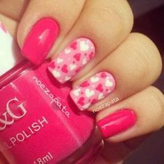 Pink Multi-Color Nails, Valentines Day, Holiday Nail art, small pink & white free hand hearts, Accent Nails by monica