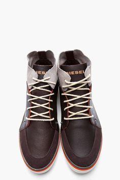 DIESEL Dark Brown Leather Sandoka Sneakers